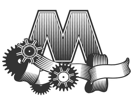 arouse: Vintage letter randomly drawn bars decorated with ribbons metal parts gears steam punk style, on a white background, letter M