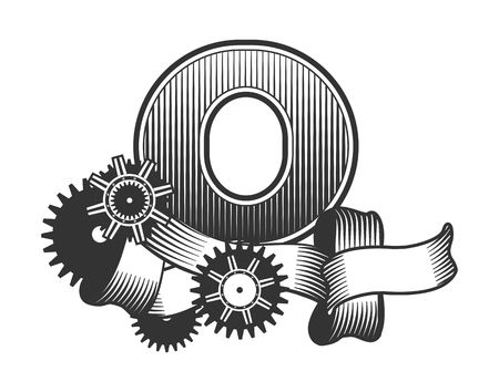 o': Vintage letter randomly drawn bars decorated with ribbons metal parts gears steam punk style, on a white background, letter O