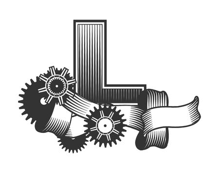 metal parts: Vintage letter randomly drawn bars decorated with ribbons metal parts gears steam punk style, on a white background, letter L