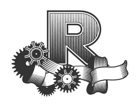 r image: Vintage letter randomly drawn bars decorated with ribbons metal parts gears steam punk style, on a white background, letter R