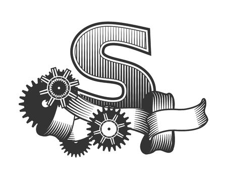drawn metal: Vintage letter randomly drawn bars decorated with ribbons metal parts gears steam punk style, on a white background, letter S