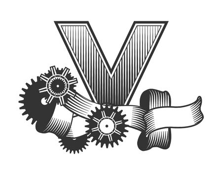drawn metal: Vintage letter randomly drawn bars decorated with ribbons metal parts gears steam punk style, on a white background, letter V