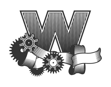 drawn metal: Vintage letter randomly drawn bars decorated with ribbons metal parts gears steam punk style, on a white background, letter W