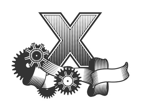 drawn metal: Vintage letter randomly drawn bars decorated with ribbons metal parts gears steam punk style, on a white background, letter X