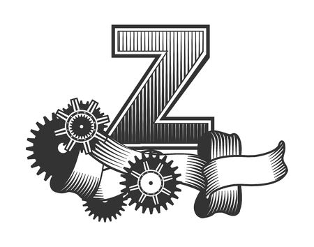 metal parts: Vintage letter randomly drawn bars decorated with ribbons metal parts gears steam punk style, on a white background, letter Z Illustration