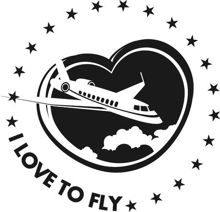 jet plane: The plane on a background of the sky in the shape of a heart icon on a white background Black and white in color