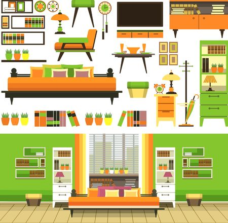 bed room: a set of objects on colored squares in a flat style of furniture and interior composition