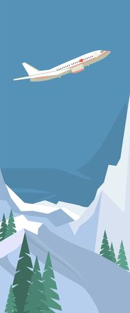 snowcapped: flying plane in the sky over winter landscape snow-capped mountains in the flat style vertical banner Illustration