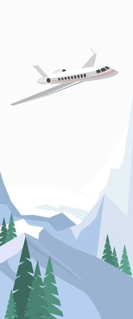 snowcapped: flying plane in the sky over winter landscape snow-capped mountains in the flat style vertical banner Vectores