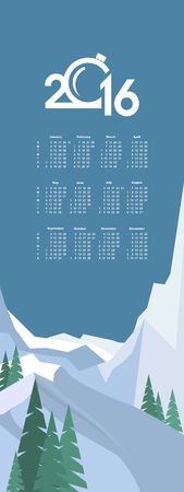 snowcapped landscape: Calendar 2016 flying plane in the sky over winter landscape snow-capped mountains in the flat style vertical banner Illustration