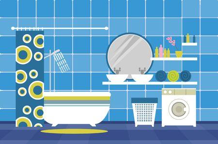 productos de aseo: un cuarto de baño con artículos de aseo y mobiliario en el estilo plano y colores retro