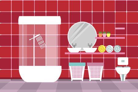 productos de aseo: un cuarto de ba�o con art�culos de aseo y mobiliario en el estilo plano y colores retro