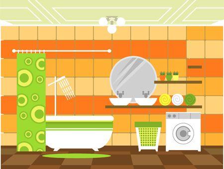 articulos de baño: un cuarto de baño con artículos de aseo y mobiliario en el estilo plano y colores retro