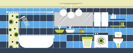 toiletries: a bathroom with toiletries and furnishings in the flat style and retro colors
