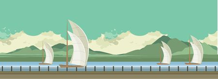 river water: Horizontal vector illustration of sailboats on the water, floating on the river during the day