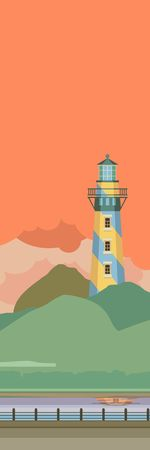 margin of safety: Vertical Vector illustration of a lighthouse in the evening Illustration