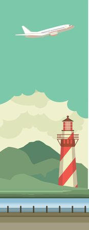 margin of safety: Vertical Vector illustration of lighthouse on the water in the sky flying aircraft Illustration