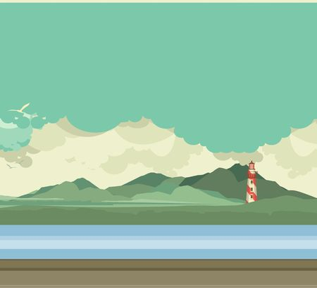 margin of safety: vector illustration of a lighthouse in the distance on the highlands in a flat style
