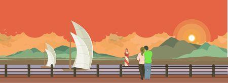 uomo sotto la pioggia: Illustrazione vettoriale orizzontale del Pier serale � una coppia in amore e guardando l'acqua Vettoriali