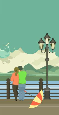 happy couple: vector illustration of the vertical pier is a couple in love after rain