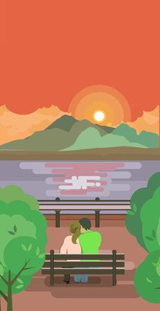 pier: Vector vertical illustration of an evening pier is a couple in love and looking at the sailing sailboats