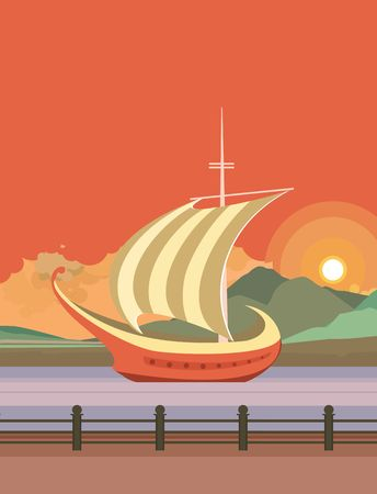 pier: vector illustration of the evening pier on the river floating boat with sails