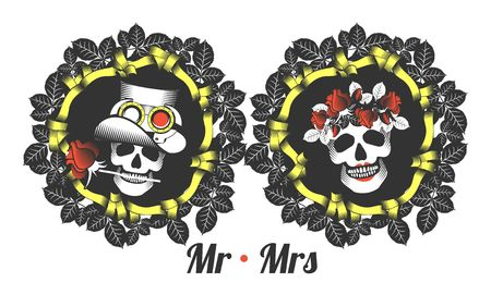 mr and mrs: the stylized   with a skull for a holiday hellouna vintage frame with rose leaves and ribbons Mr. and Mrs.