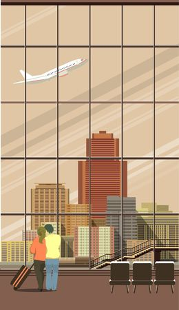 Vertical Vector illustration of airport lounge with large windows overlooking the city is a couple in love