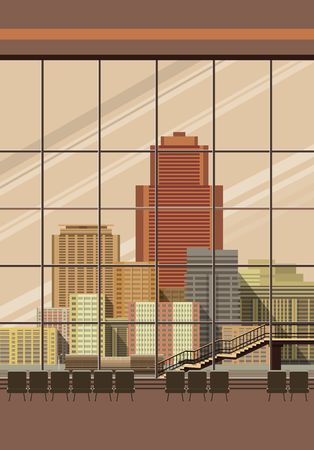 overlooking: Vertical Vector illustration of airport lounge with large windows overlooking the city