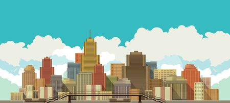 I stylized vector illustration of urban high-rise buildings on the background of stylized sky