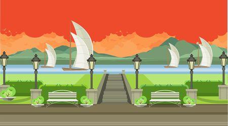 streetlight: horizontal illustration night landscape river regatta and park Illustration