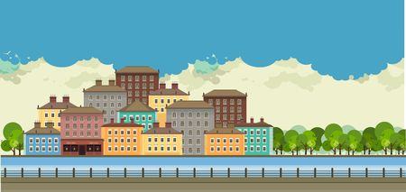 cartoon summer: horizontal illustration cityscape near river against the sky