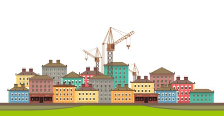 Horizontal vector illustration of cityscape on a white background with a liftable crane