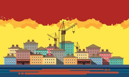 river bank: Horizontal vector illustration of an evening city landscape on river bank