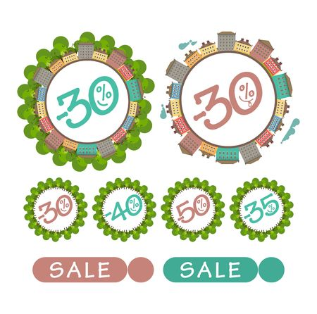 house clearance: set of stylized emblem of the city on a white background sale badges