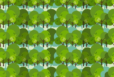 wallpaper: Cartoon decorative style trees seamless pattern in a flat style