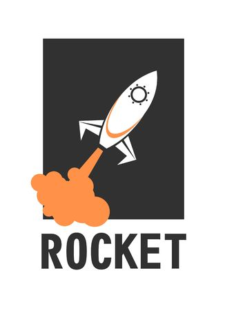 cartoon astronaut: vector illustration of a business start-up rocket space exploration flat style design