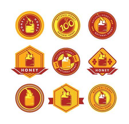nectars: set of stylized emblems and badges honey theme on a white background