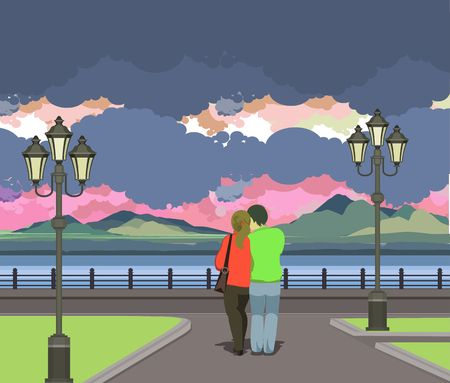 couple nature: vector illustration of the evening Pier is a couple in love and looking at the water Illustration