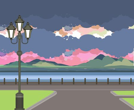 pier: vector illustration Beautiful evening landscape on the river pier
