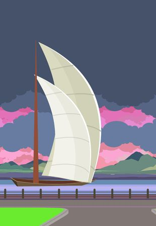 floating in water: Vertical Vector illustration of sailboats on the water, floating on the river in the evening,