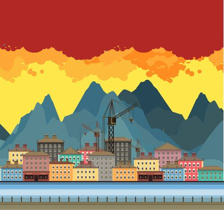 modern illustration: Vector illustration an evening panorama proud mountains in the background near the river in a flat style Illustration