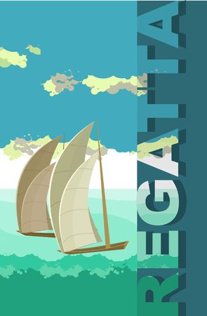 sea side: Vector vertical illustration of sea landscape sailboat sailing on the open sea, with a side text reggata Illustration