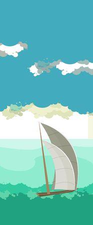 open sea: Vector vertical illustration of sea landscape sailboat sailing on the open sea Illustration