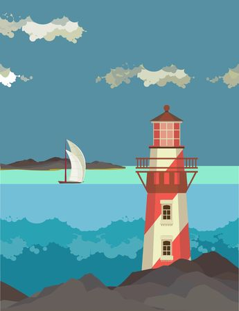 sea landscape: vector illustration sea landscape with a lighthouse in the foreground in a flat style Illustration