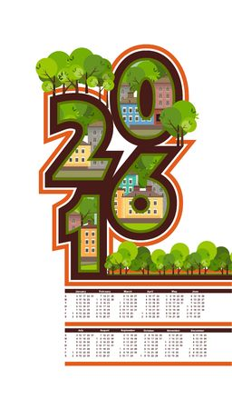 built: Vector vertical illustration calendar 2016 letter of the houses built in ecological style Illustration