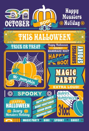 poster designs: sheet of newspaper with the elements and icons Halloween on a white background