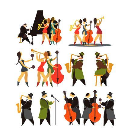抽象的なジャズ バンド、ジャズ音楽パーティー招待状デザイン ベクトル図