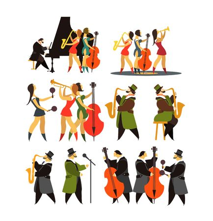 instruments: Abstract jazz band, Jazz music party invitation design vector illustration