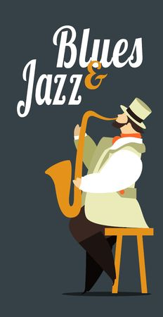 jazz men: Abstract jazz band, Jazz music party invitation design vector illustration